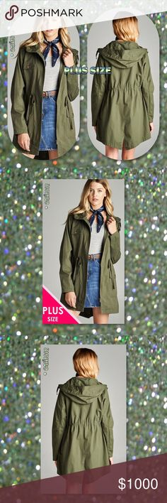 Plus Sz Utility Olive Jacket Anorak New Plus Size Olive Hooded Utility Jacket 1X, 2X, 3X Material: 100% Cotton Color Avail: Olive Sizes Avail: 1X, 2X, 3X Plus Size Made in USA FITS TRUE TO SIZE Price firm unless bundled ⭐️⭐️Measurements Avail Upon Request (Please ask if serious only)⭐️⭐️ ‼️LOWBALL AND TRADE OFFERS WILL BE IGNORED (SORRY)‼️ Glam Squad 2 You Jackets & Coats Utility Jackets