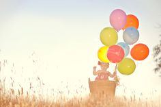 Happy Birthday photoshoot - Not a fan of the super sunset lighting but love the balloons and basket