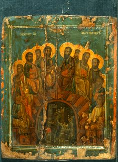 Descent century Byzantine Icon of the Descent from the Cross from the Church of Saint Marina in Kalopanagiotis, Cyprus. Joseph of Arimathea is the figure standing in the center, in blue-green robes holding the Body of Christ. Religious Images, Religious Icons, Religious Art, Byzantine Icons, Byzantine Art, Early Christian, Christian Art, Fosse Commune, Spirituality