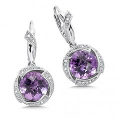 Colore|SG Sterling silver, purple amethyst and diamond earrings Product Number: LVE581-DAM