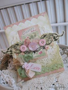 shabby chic button card trio of buttons LOVE handmade card