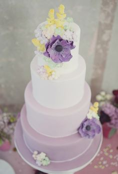 Wedding Cakes | Purple Ombre- drop The yellow flowers/: