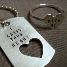 dog tag and sterling silver HEART ring how precious is that? Just In Case, Just For You, Cadeau Couple, I Carry Your Heart, Little Presents, Swagg, Dog Tags, Dog Tag Necklace, Ring Necklace