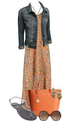Casual maxi dress with denim jacket and sandals outfit bmodish Source by PriSpeaking outfits Casual Dress Outfits, Komplette Outfits, Spring Outfits, Fashion Outfits, Fashion Trends, Outfit Summer, Casual Wear, Orange Outfits, Club Fashion