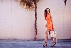tangerine dress with heels
