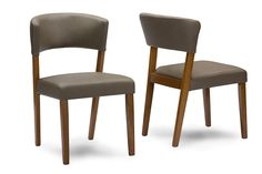 Baxton Studio Montreal Mid-Century Dark Walnut Wood Grey Faux Leather Dining Chairs | Affordable Modern Furniture in Chicago.