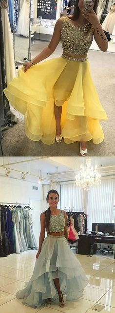 2018 Prom Dress,New Arrival Prom Dresses,Two Pieces Prom Dress,Beading Sequined Prom Dress,High Low Prom Dress