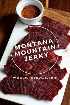 Montana Mountain Jerky This great beef snacking jerky, inspired by hikes in the Montana Mountains of Glacier National Park is great for packing up to take on hikes and long walks. Beef Jerky Marinade, Smoked Beef Jerky, Beef Jerkey, Homemade Beef Jerky, Beef Jerky Cure Recipe, Buffalo Jerky Recipe, Deer Jerky Recipe, Homemade Sushi, Jerkey Recipes