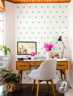 Sweet Heart  Wall Decals Geometric Decal Peel by TheAmeliaDesigns