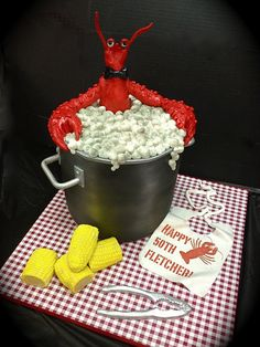 Oh my goodness, my love of lobster collides with my love of clever bakers! Lobster pot cake by debbiedoescakes, via Flickr