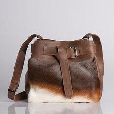 NEW Blesbok hide Ponyskin Brown Leather Shoulder Handbag ***stock clearance***