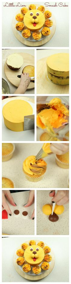 Our Little Lion Smash Cake photo tutorial. This is such a cute idea. #cakestyle http://cakestyle.tv/little-lion-smash-cake/