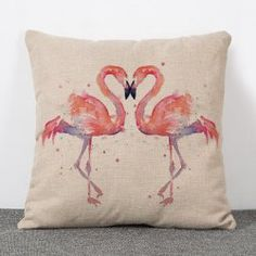 SHARE & Get it FREE | Fashion Double Flamingo Pattern Flax Pillow Case(Without Pillow Inner)For Fashion Lovers only:80,000+ Items • New Arrivals Daily • Affordable Casual to Chic for Every Occasion Join Sammydress: Get YOUR $50 NOW!
