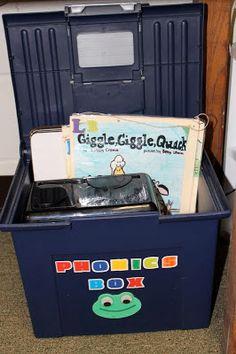 Phonics box! great idea!.....One Extra Degree: Word Work Center etc.