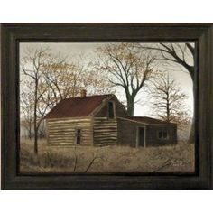 The Old Log Home by Billy Jacobs 15x19 Country House Primitive Folk Art Print Wall Décor Framed Picture