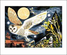 Greetings Card Mark Hearld Owl Flight MH1232 © Copyright Image