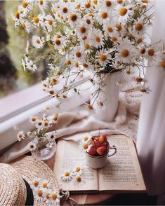 """🏺 Our """"Featured Artist"""" of the Day ! 🎨 Please take time to visit the gallery of this… Flor Iphone Wallpaper, Flower Wallpaper, Cozy Aesthetic, Flower Aesthetic, Daisy, Book Flowers, Coffee And Books, Flower Backgrounds, Book Photography"""