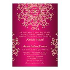 Free printable indian wedding invitation templates wedding invites hot pink and gold indian style wedding invitation stopboris Gallery