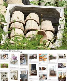 $27.50 {Farmers Market Finds} Old Wooden crate with 12 Pots  ~Enjoy one decor deal a day from WUSLU ~www.wuslu.com