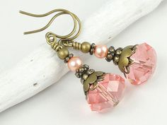 Beaded Earrings Pink Earrings Swarovski Jewelry Antique Brass Earrings Vintage Style Rose Peach Pink Shabby Cottage Chic Jewelry