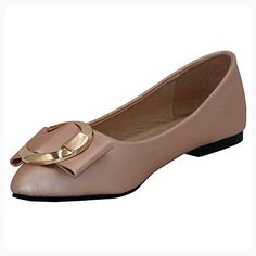 df327c62e1c8 AalarDom Women s Soft Material Pull-On Pointed-Toe Flats-Shoes with Metal  Buckles