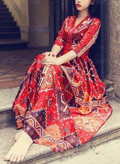 Dress - $50.99 - Geometric V-Neckline 3/4 Sleeves Maxi Shift Dress (1955261726)