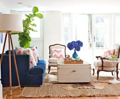 Say goodbye to beige and hello to bold blue sofas! Read about this new trend on Style Spotters: http://www.bhg.com/blogs/better-homes-and-gardens-style-blog/2013/07/09/get-the-look-bold-blue-sofa/?socsrc=bhgpin071013bluesofa
