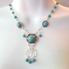 Turquoise Chandelier Necklace - Turquoise Slider Beads - Wire Wrapped Charm.