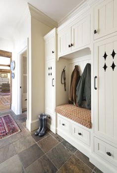 Mudroom: built-ins with a bench source: Details Portfolio - Revival Construction Wooden Wardrobe, Room Furniture Design, Build A Closet, Slate Flooring, Built In Storage, Built Ins, Mudroom, Decoration, New Homes
