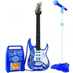 Elektrisk Gitar med mikrofon og forsterker - Blå - Musikk - Kategorier - leketøysbutikken med superpriser og enorme utvalget Music Instruments, Guitar, Rock, Hu Ge, Musical Instruments, Skirt, Locks, The Rock, Rock Music