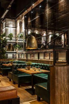 Rustic Restaurant Interior, Bistro Interior, Modern Restaurant Design, Decoration Restaurant, Deco Restaurant, Pub Design, Industrial Restaurant, Lounge Design, Restaurant Interior Design