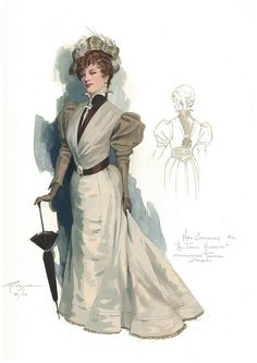Costume design by Robert Perdziola for the Shakespeare Theatre Company's production of An Ideal Husband. Victorian Era Dresses, Renaissance Dresses, Costume Design Sketch, Steampunk, Theatre Costumes, Ballet Costumes, Character Design Inspiration, Animal Tattoos, Comic Artist