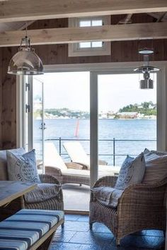 Beautiful Living both Indoors and Outdoors House Boat, Cottage, House, Beach House, Coastal Living, Home Decor, Dream Cottage, Seaside Cottage, Beautiful Living