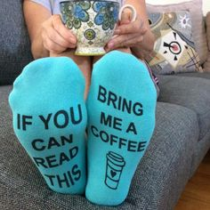 "A fun and humorous pair of socks printed with text on the bottom of the socks - the perfect way to get what you want without saying a word. When worn, the socks have an ""If you can read this"" saying o"
