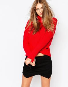 Eleven Paris Ribbed Knit Jumper with Funnel Neck