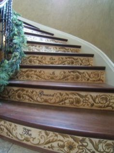 Painted staircase ideas which make your stairs look new 09 Stenciled Stairs, Painted Stairs, Painted Floors, Painted Furniture, Funky Furniture, Furniture Design, Stair Steps, Stair Risers, Staircase Design