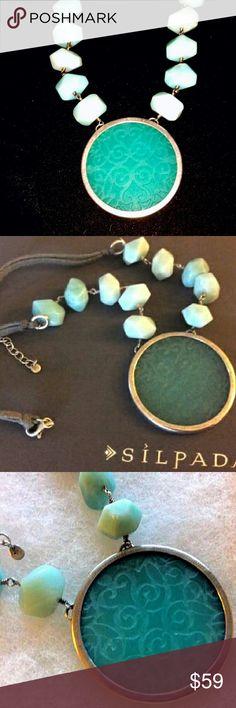 "SILPADA Aqua Blue Quartzite Etched Necklace Sterling Silver with leather cord, Aqua Blue statement pendant; quartzite beads, 18"" - 20""; excellent condition, likenew Silpada Jewelry Necklaces"
