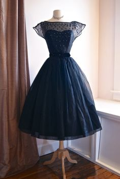 Vintage Black Silk party dress
