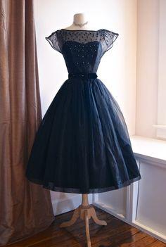 Vintage 50s Dress // 1950s Black Magic Silk by xtabayvintage, $298.00