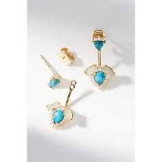 Anthropologie Turquoise Front-Back Post Earrings ($48) ❤ liked on Polyvore featuring jewelry, earrings, blue motif, green turquoise earrings, turquoise jewellery, turquoise jewelry, blue jewelry and green turquoise jewelry