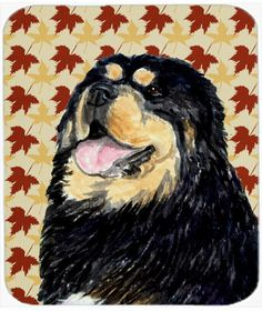 Tibetan Mastiff Fall Leaves Portrait Mouse Pad, Hot Pad or Trivet