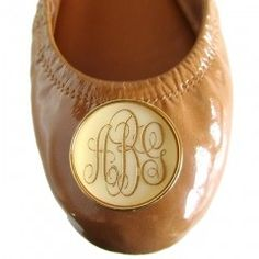 Monogram on leather ballet flats LOVE