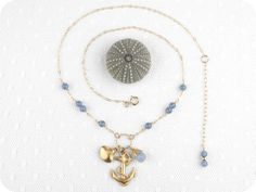 Gold filled Blue Jade Nautical Charm Necklace by crimsonandfinch, €32.50