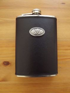 Black Genuine Leather Wrap Stainless Steel 8 oz. Flask Silver Plated Golf Club #MDREAM