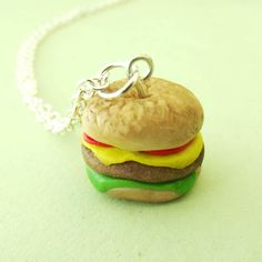 Burger Polymer Fimo Clay Necklace by TheHazelBranch on Etsy, £8.00