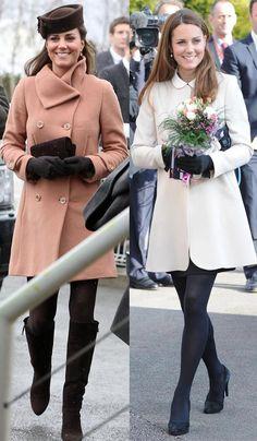 Kate Middleton em Harmonia de Tonalidades para o Inverno.  Casaco Bege + Complementos em marrom escuro; Casaco Off White + Complementos em preto. Combinações simples e infalíveis! Aposte!!!