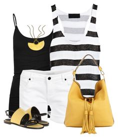 """""""Summer Black & White, Yellow Accessories"""" by daiscat ❤ liked on Polyvore featuring Tresics, A.L.C., Aaiko, Marni, See by Chloé and Citrine by the Stones"""