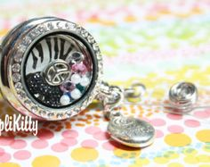 Custom ID Badge Zebra Bling Locket for Floating Charms - No Owl Lanyard or Chain!  Hooks on Clothes! Great for Nurses and as a Custom Gift!