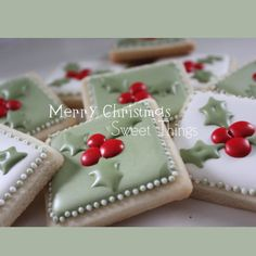 Nice holly cookies. Like the soft green.