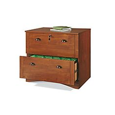 "Realspace® Dawson 2-Drawer Lateral File Cabinet, 29""H x 30 1/2""W x 21 3/4""D, Brushed Maple $139 office depot"